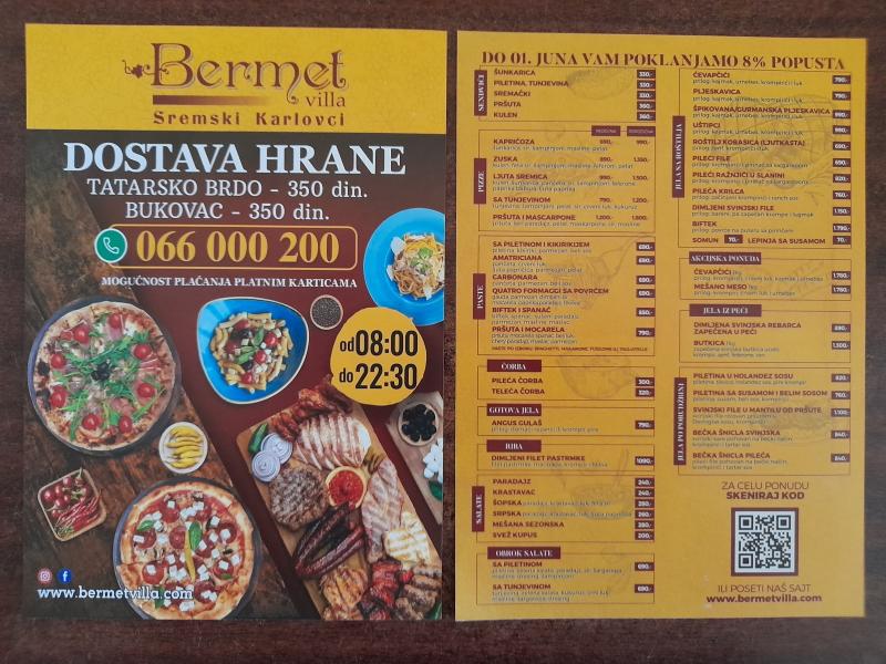 Podela i štampa flajera za restoran BERMET Sremski Karlovci