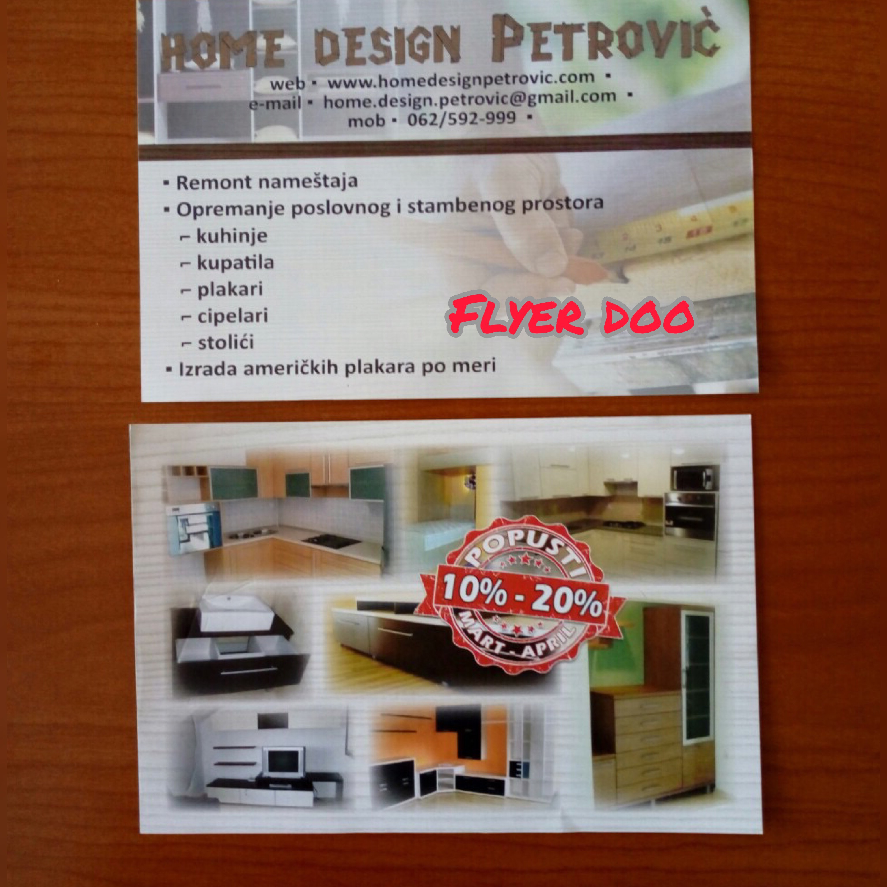Podela  flajera za Home design Petrović