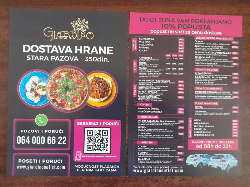 Podela i štampa flajera za restoran GIARDINO