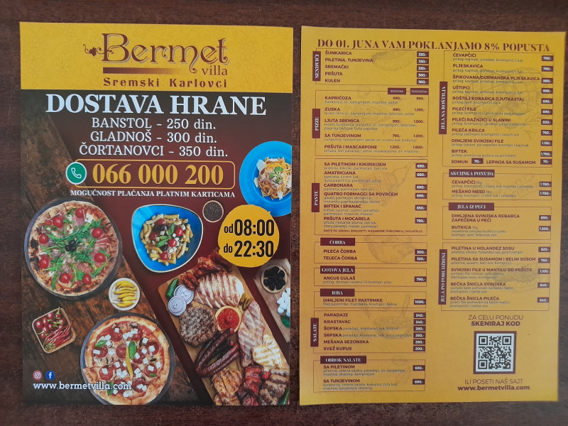 Podela i štampa flajera za restoran BERMET Banstol, Gladnoš, Čortanovci,