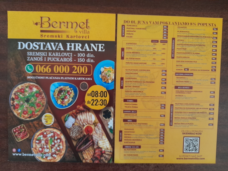 Podela i štampa flajera za restoran BERMET  Tatarsko Brdo, Bukovac, Sremski Karlovci, Zanoš i Puckaroš