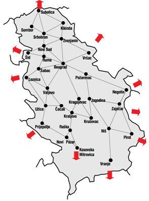 mapa srbije i veci gradovi
